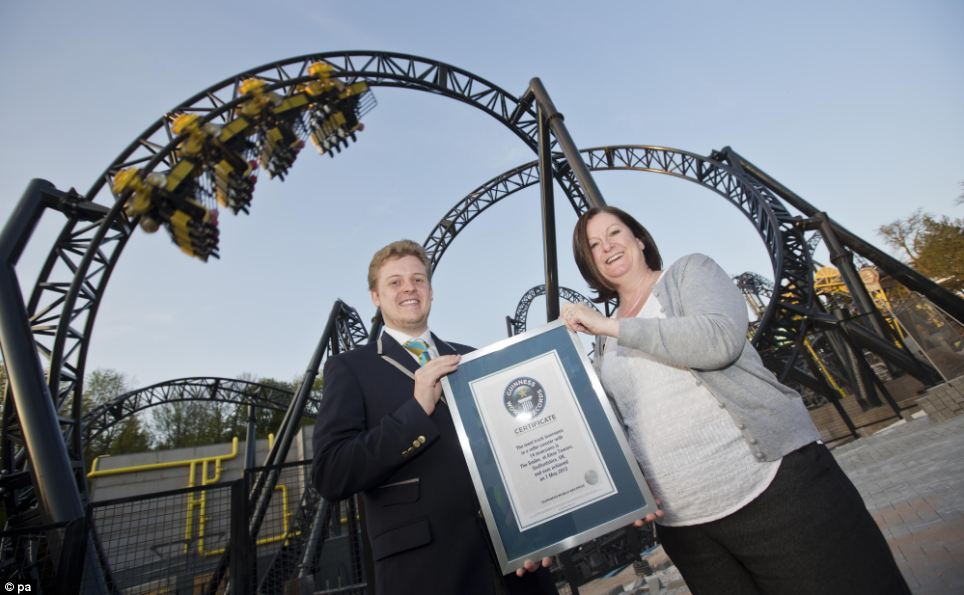 Guinness World Record for 14 inversions - The Smiler. Image courtesy of Daily Mail